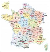 foto of breakdown  - administrative breakdown of the state france with regions and Arrondissements - JPG