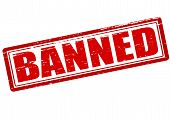 picture of banned  - Rubber stamp with word banned inside vector illustration - JPG