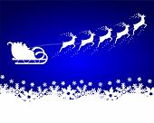 picture of sleigh ride  - Santa Claus rides in a sleigh reindeer on blue background with snowflakes - JPG