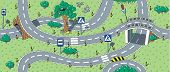foto of bend  - Big seamless pattern or background of roads with crossings bends and road signs - JPG