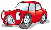 stock photo of feeling stupid  - happy cartoon with red car isolated on white - JPG