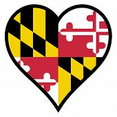 stock photo of maryland  - Maryland state flag within a heart all over a white background - JPG