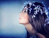 stock photo of snow queen  - Beautiful snow queen portrait - JPG