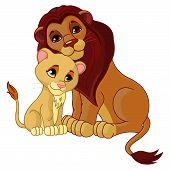 Постер, плакат: Лев и cub вместе