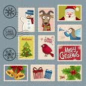 image of christmas angel  - Vector illustration of a collection of Christmas stamps - JPG