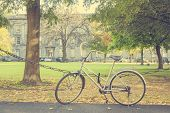 stock photo of trinity  - Bike parked at the Trinity College courtyard in Dublin Ireland - JPG
