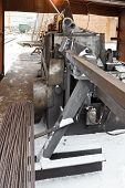 image of bender  - reinforcement steel and reinforcing steel cutting and bender machine in outdoor workshop - JPG