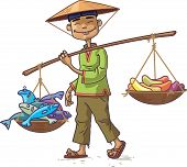 stock photo of conic  - The smiling Asian man in a conical hat is carrying the fresh fish and the fruits - JPG