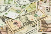 stock photo of yuan  - Colorful of World banknotes backgrounddollarJapanese YenChinese yuan banknotes - JPG