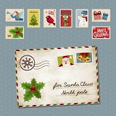 image of letters to santa claus  - Vector illustration of a postage stamp and a letter for Santa Claus - JPG