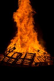 picture of tetrahedron  - Images taken by a large warm bonfire made out of wood pallet at a fire festival in Chester County PA - JPG