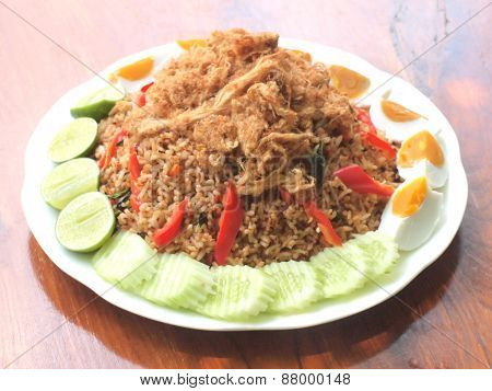 Spicy Fried Rice With Dried Shredded Pork And Salted Egg