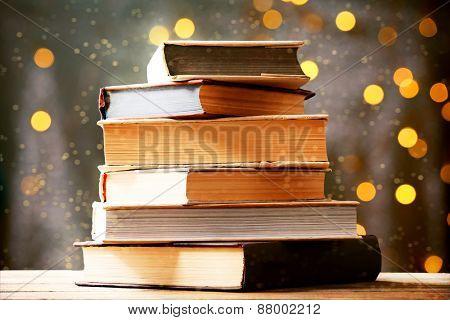 Books on lights background