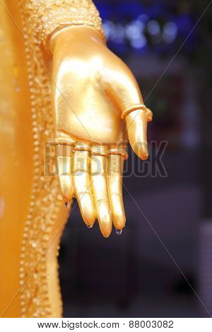 Water drop from hand of Buddha statue