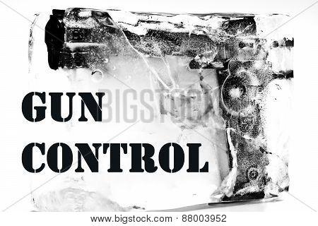 gun control / weapon control / frozen pistol