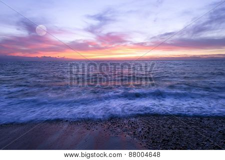 Ocean Sunset Beach Moon Wave