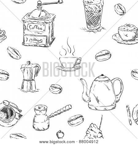 vector - pattern of coffee set , hand draw, isolated on background