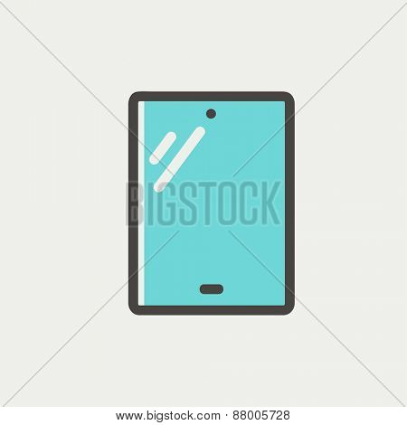 Touch screen tablet icon thin line for web and mobile, modern minimalistic flat design. Vector icon with dark grey outline and offset colour on light grey background.