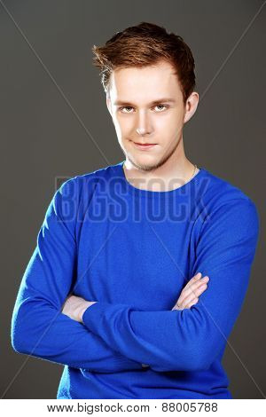 Close-up portrait of a handsome young man. Men's beauty, fashion.