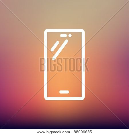 Smartphone icon thin line for web and mobile, modern minimalistic flat design. Vector white icon on gradient mesh background.