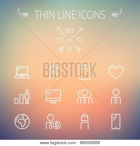 Technology thin line icon set for web and mobile. Set includes - laptop, tablet, computer, globe, man, woman, heart, statistics icons. Modern minimalistic flat design. Vector white icons on gradient