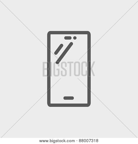 Smartphone icon thin line for web and mobile, modern minimalistic flat design. Vector dark grey icon on light grey background.