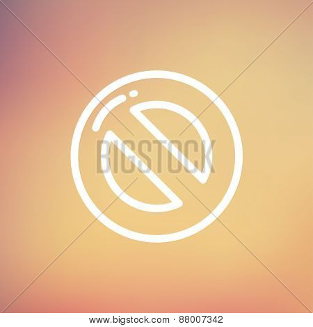 Not allowed icon thin line for web and mobile, modern minimalistic flat design. Vector white icon on gradient  mesh background.