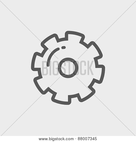 Gear icon thin line for web and mobile, modern minimalistic flat design. Vector dark grey icon on light grey background.