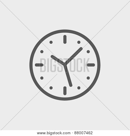 Clock icon thin line for web and mobile, modern minimalistic flat design. Vector dark grey icon on light grey background.