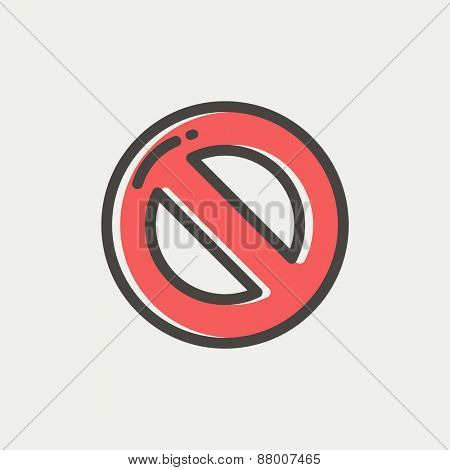 Not allowed icon thin line for web and mobile, modern minimalistic flat design. Vector icon with dark grey outline and offset colour on light grey background.
