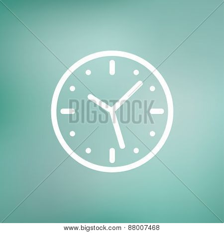 Clock icon thin line for web and mobile, modern minimalistic flat design. Vector white icon on gradient  mesh background.