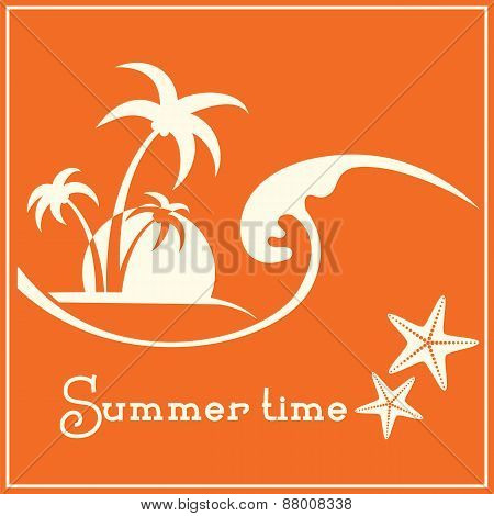 Summer Time Graphic Image With Sea Wave And Tropical Palm Trees