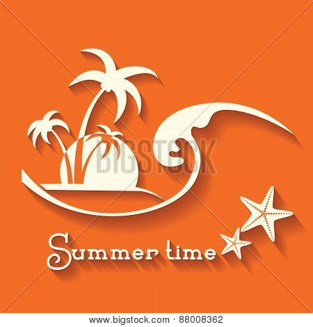 Summer Time Image With Sea Wave And Tropical Palm Trees