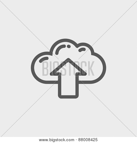 Cloud with arrow up icon thin line for web and mobile, modern minimalistic flat design. Vector dark grey icon on light grey background.