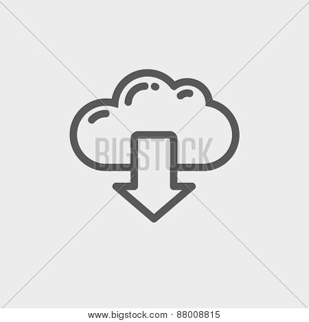 Cloud with arrow down icon thin line for web and mobile, modern minimalistic flat design. Vector dark grey icon on light grey background.