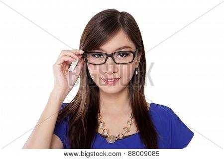 Smiling Cute Girl On Glasses