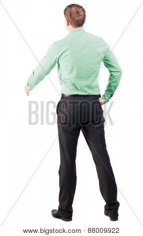 back view of businessman in red shirt out to shake hands. Rear view people collection. backside view of person. Isolated over white background. cocky office worker greets someone
