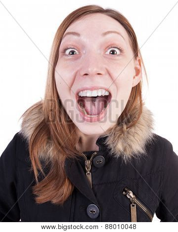 Funny portrait of a woman screaming. Isolated on white background.