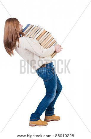 A girl carries a heavy pile of books. back view. Rear view people collection.  backside view of person.  Isolated over white background.