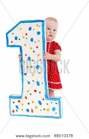 Small Child And Numeral One, Isolation