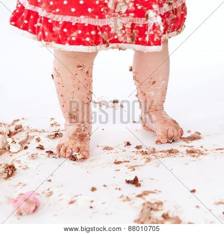Dirty Baby Feet On White Background