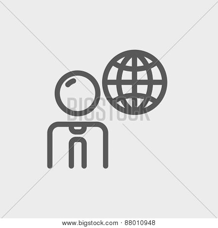 Businessman with global icon thin line for web and mobile, modern minimalistic flat design. Vector dark grey icon on light grey background.