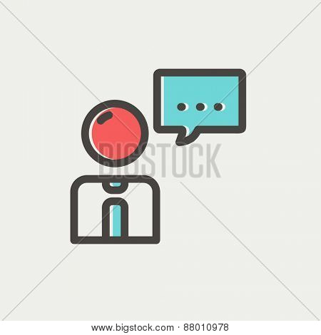 Businessman with speech bubble icon thin line for web and mobile, modern minimalistic flat design. Vector icon with dark grey outline and offset colour on light grey background.