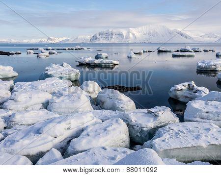 Arctic landscape - ice, sea, mountains, glaciers - Spitsbergen, Svalbard