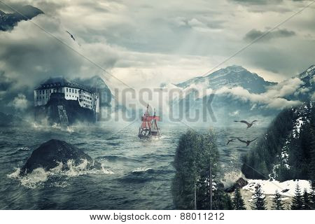 A ship in a wild stormy sea and a rock with a fortress.