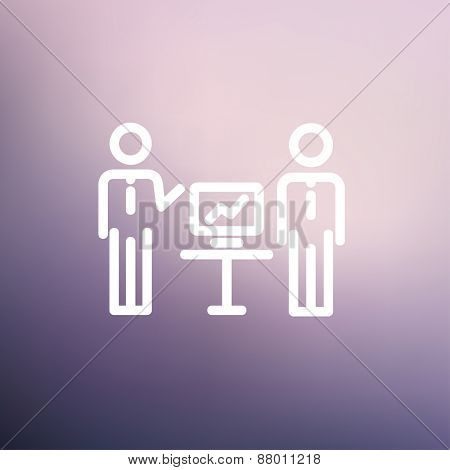 Two men and their business report icon thin line for web and mobile, modern minimalistic flat design. Vector white icon on gradient mesh background.