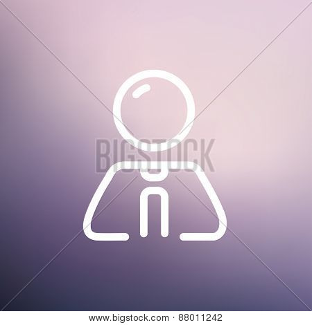 Businessman relaxing icon thin line for web and mobile, modern minimalistic flat design. Vector white icon on gradient mesh background.