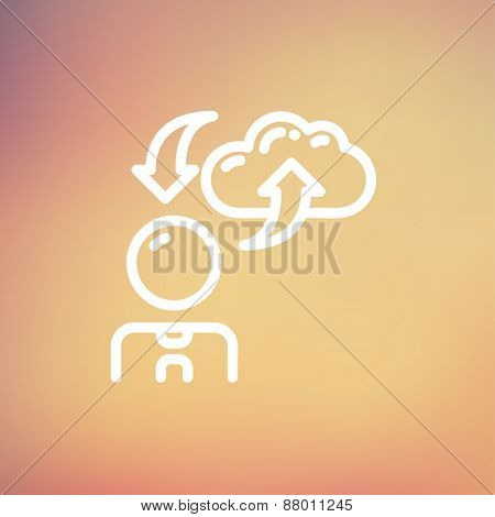 Man with cloud upload and download arrows icon thin line for web and mobile, modern minimalistic flat design. Vector white icon on gradient mesh background.