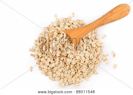 Oatmeal Flakes In Wooden Spoon