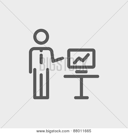 Businessman presentation icon thin line for web and mobile, modern minimalistic flat design. Vector dark grey icon on light grey background.